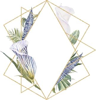Полевые цветы из шкуры с принтом, тропические листья рамка. экзотический цветочный венок