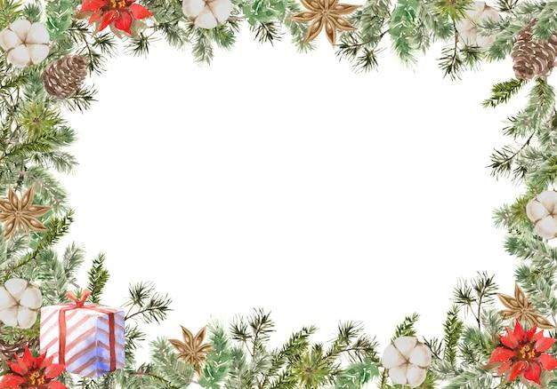 松とモミの枝、綿、アニスの花、ギフト、コーンとメリークリスマススクエアフレーム構成。冬