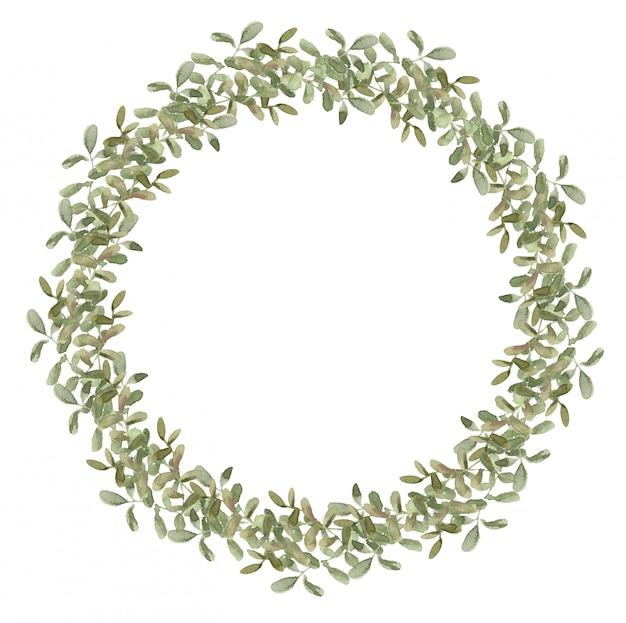 枝とユーカリの花輪の組成。春の丸いフレーム