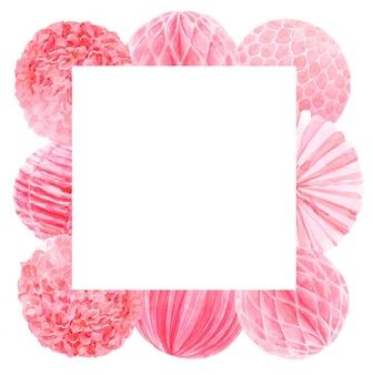ピンクの水彩パーティーテンプレートフレーム