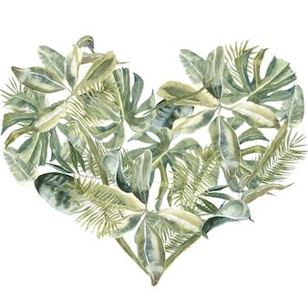 Пальма оставляет форму сердца. пыль зелени, листья тропических рам. экзотический цветочный венок. цветы границы