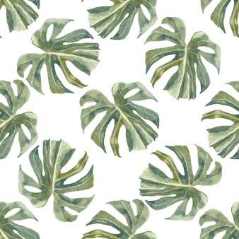 緑のエキゾチックな枝と葉のシームレスなパターン。トレンディな熱帯のヤシの葉。埃っぽい緑
