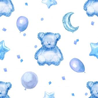 Голубые дети бесшовные модели с яркими блестящими шарами, звездами и плюшевым мишкой