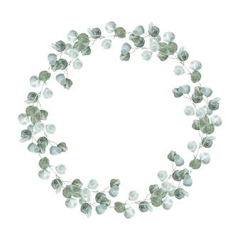 シルバーユーカリの花輪。結婚式やイベントの招待状のラゴム秋水彩ユーカリラウンドフレーム。