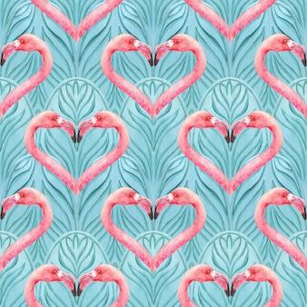 ピンクのフラミンゴと東洋のシームレスな青パターン。抽象的な背景。包装紙、テキスタイル、ファブリック、ファッション、カード、結婚式招待状の印刷