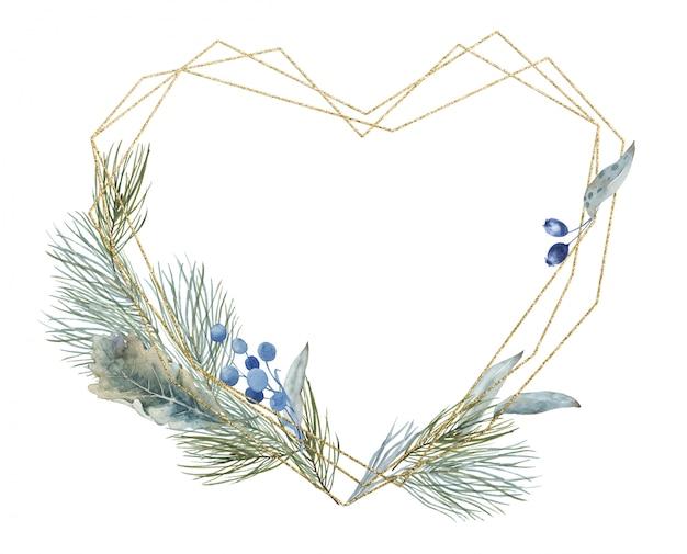 クリスマス冬と春の松、モミの枝とゴールデンハートバレンタインクリスタル多角形フレーム。ユーカリの葉と花。招待状、挨拶の年末年始のバナーテンプレート