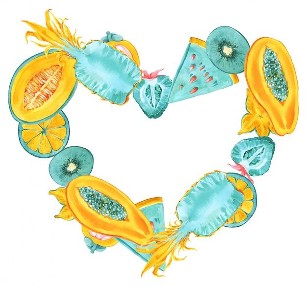 トロピカルフルーツハート形フレーム。トレンディな夏色のエキゾチックなフルーツのボーダー。ドラゴンフルーツ、ピタヤ、マンゴスチン、ゴレンシ、バナナ、スターフルーツ、パパイヤ、アボカド。ミント、黄色、赤、ピンクのカード印刷