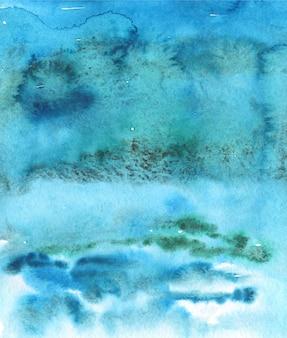 明るい海辺の水彩画