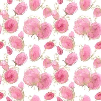 バラの春と夏のシームレスな花柄。