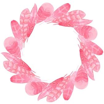 ピンクの紙の羽の水彩画のプリント生地