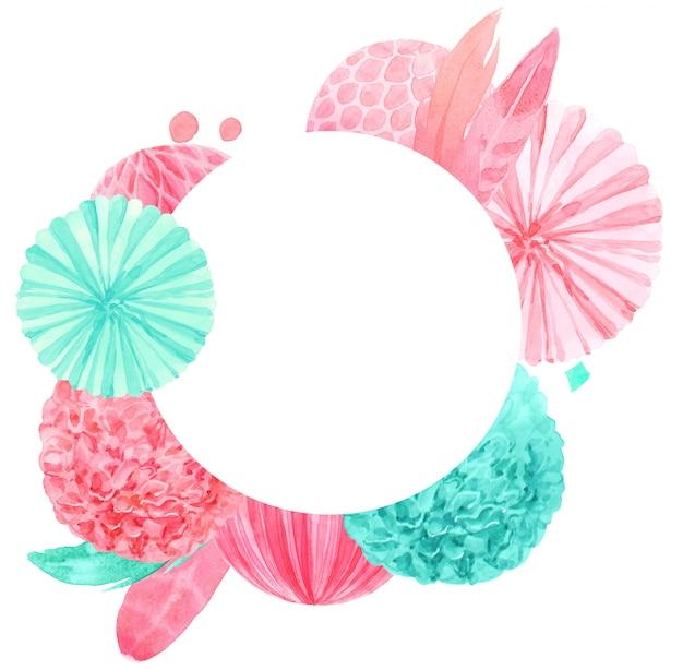 ミント提灯とピンクの羽の水彩画プリント