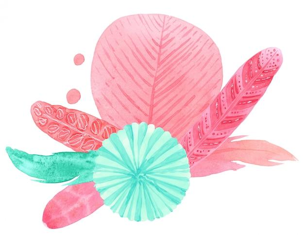 ミントブルーの提灯、羽の水彩画の生地用