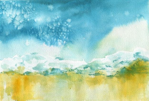明るい海辺の水彩画の抽象的な背景。