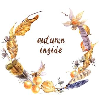 秋の物語の花輪。黄色落ちた乾燥葉、野生の羽、小枝、花および分離された果実