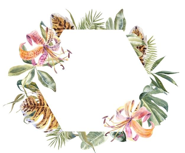 リリの花と熱帯の葉のフレーム。エキゾチックフローラルリース