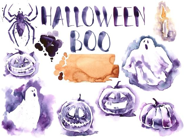 ハロウィン水彩セット。幽霊。クモ。かぼちゃ