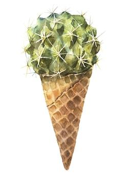 サボテンの甘いおいしい水彩画。アイスクリームフレッシュオーガニックダイエット