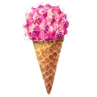 サボテンの甘いおいしい水彩画。アイスクリームピンクフレッシュオーガニックダイエット