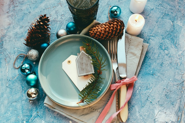 Стол подается на рождественский ужин