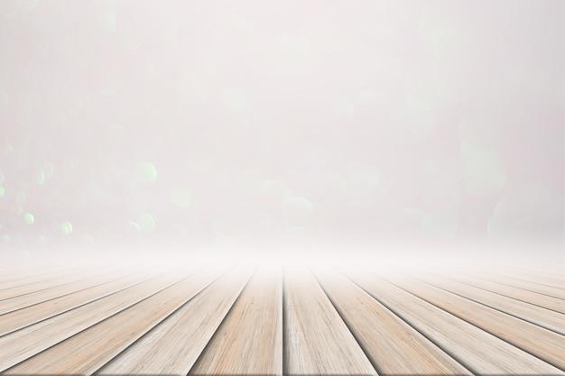 白の木製の床のピンクと白のボケの背景