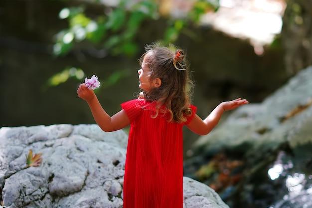 川を見て赤いドレスの少女の背面図