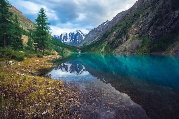 Прекрасное горное озеро с видом на гигантский ледник. удивительные огромные горы с хвойным лесом. лиственница на краю воды. утренний пейзаж величественной природы горной местности. облачный горный пейзаж.