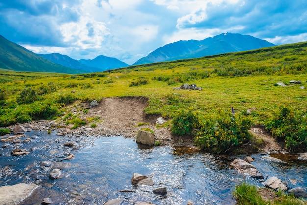 谷のマウンテンクリークから遠くの素晴らしい巨大な山々への小道。ハイキングパス。豊かな植物の高地。水の流れの近くのカラフルな植生。雄大な自然の素晴らしい日当たりの良い風景。