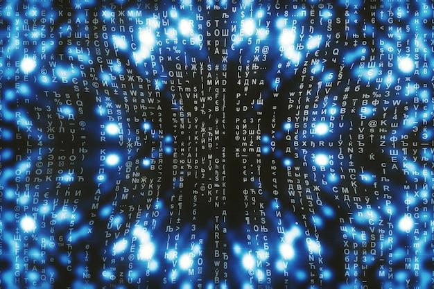 Синяя матрица цифровая. абстрактное киберпространство. персонажи падают. матрица из потока символов. дизайн виртуальной реальности. сложный алгоритм взлома данных. голубые цифровые искры.