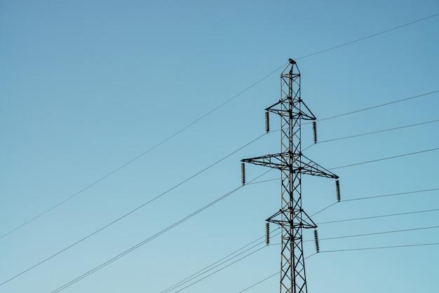 日光の青い空を背景に高電圧のワイヤーで投稿します。コピースペースが付いている空の多くのワイヤの背景画像。電力線のグループ。