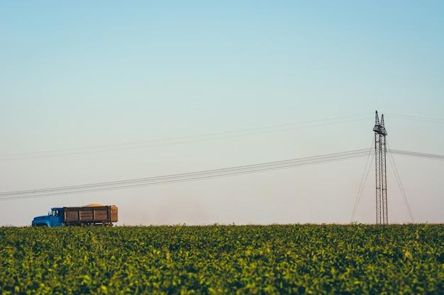 トラックは電線の下でフィールドを横切って運転しています。電線と柱の近くの草の間の道路上の古いトラック。電力線はフィールドを通過します。緑の芝生と青い空とミニマルなイメージ。