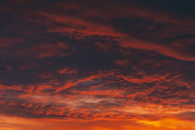 燃えるような赤い血の吸血鬼の夜明け。驚くほど暖かい劇的な火の曇り空。鮮やかなオレンジ色の日光。どんよりした天気で日の出の大気の背景。曇り。嵐の雲の警告。コピースペース。