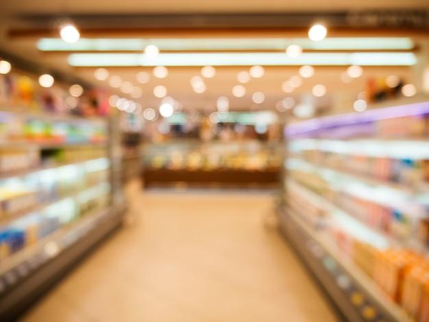 抽象的なぼやけたスーパーマーケット