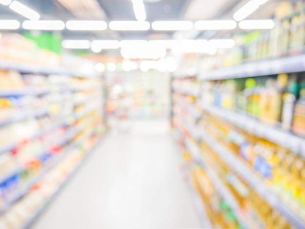抽象的なぼやけたスーパーマーケット、都市のライフスタイルコンセプト。浅い自由度