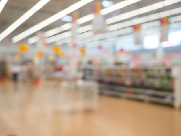抽象的なぼやけたスーパーマーケット、都市のライフスタイルのコンセプト。浅い自由度