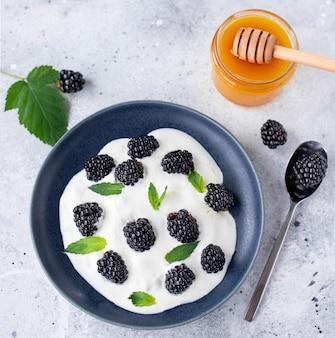 Йогурт со свежей черникой и медом на светлом фоне