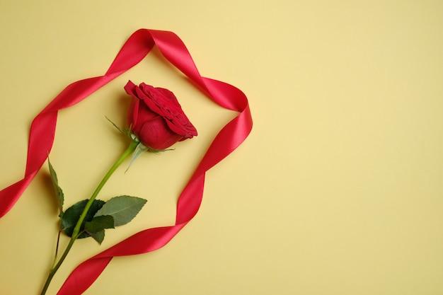 Красная роза с лентой на желтом фоне