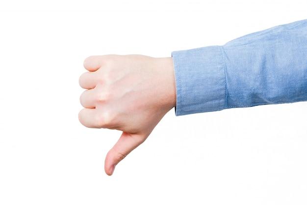 男性の手を親指します。青いシャツを着て。白地に。分離しました。