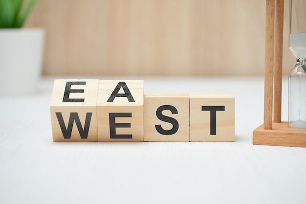木製ブロックの抽象的な選択西東フレーズ。