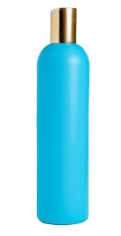 白い背景上に分離されて空白の青いプラスチック製のボトル。化粧品、シャンプー用包装材。