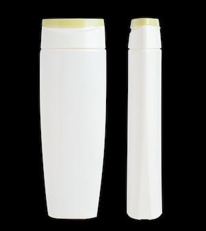 空白の白いプラスチック製の瓶。シャンプー、化粧品用包装。正面および側面図