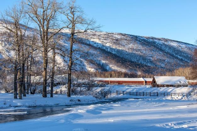 美しい冬の農村景観
