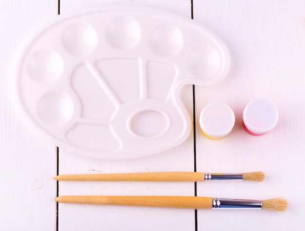 描画ブラシ、パレット木製テーブル用セット