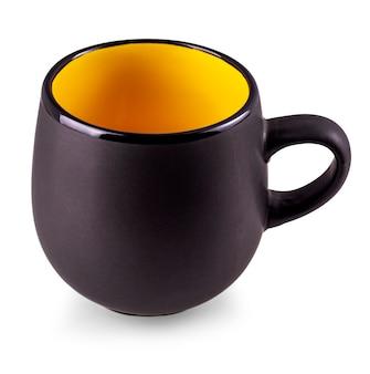 白い背景上に分離されて黒の空のカップ