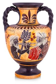 白で隔離されるギリシャからのセラミック花瓶。