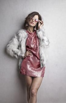 毛皮のファッションモデル