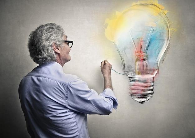 男描画電球