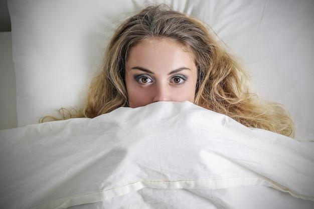 毛布の下のベッドに泊まる
