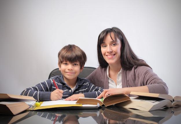 母と息子の勉強