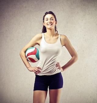 スポーティなかわいいバレーボール選手