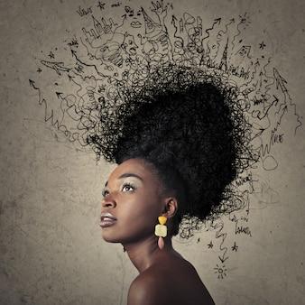非常にスタイリッシュなアフロの髪